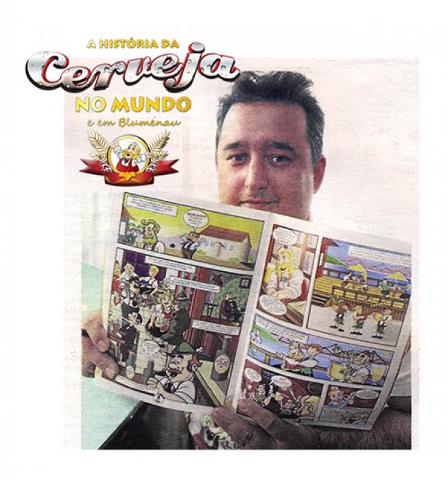 Matéria Jornal de Santa Catarina: História em quadrinhos/ A história da cerveja no mundo e em Blumenau